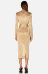 Golden Mini Dress Deep V with Waist Sash