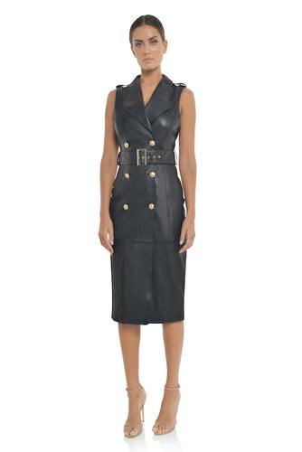 Leather Trench Dress Robe en Cuir