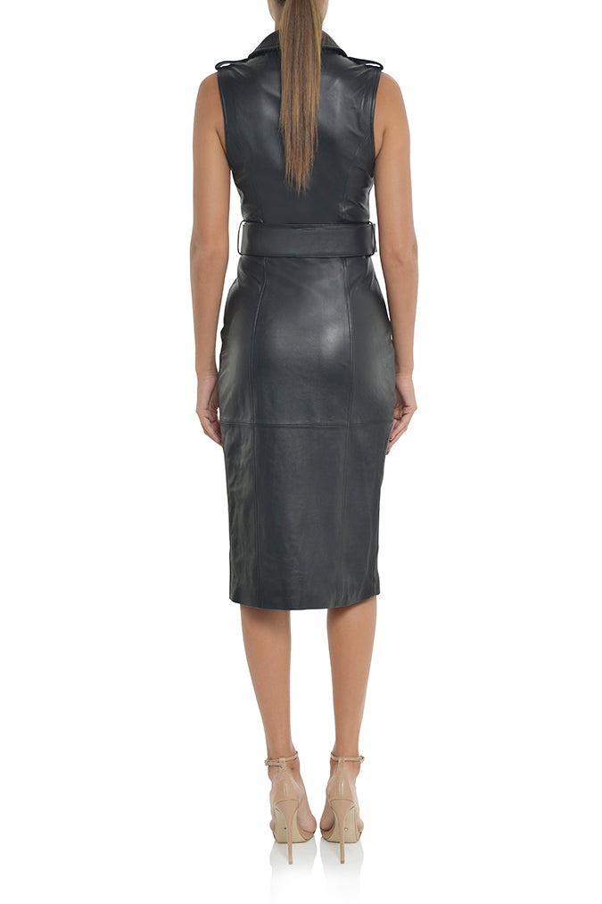 Misha Leather Trench Dress Robe Giselle