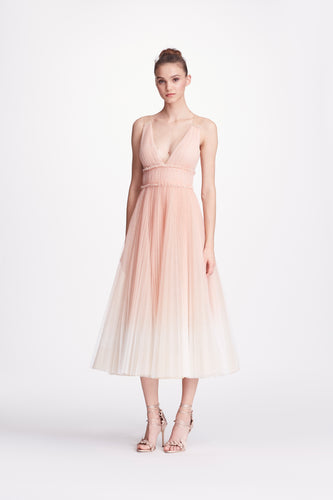 MARCHESA NOTTE PLEATED OMBRE BLUSH MIDI TEE LENGTH GOWN