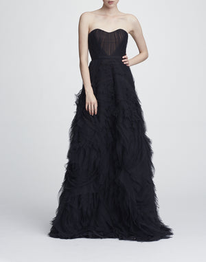 Robe de Bal Marchesa Notte Black Strapless Prom Dress Gown