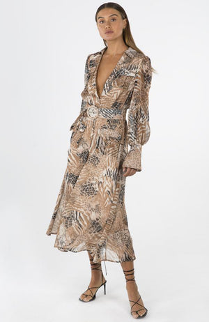 Sheer Animal Print Long Sleeve Midi Dress with Belt