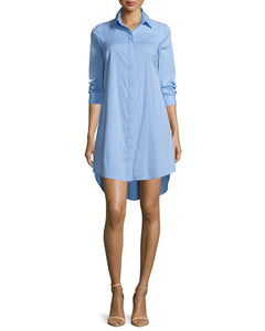Milly Long-Sleeve Stretch-Poplin Shirtdress
