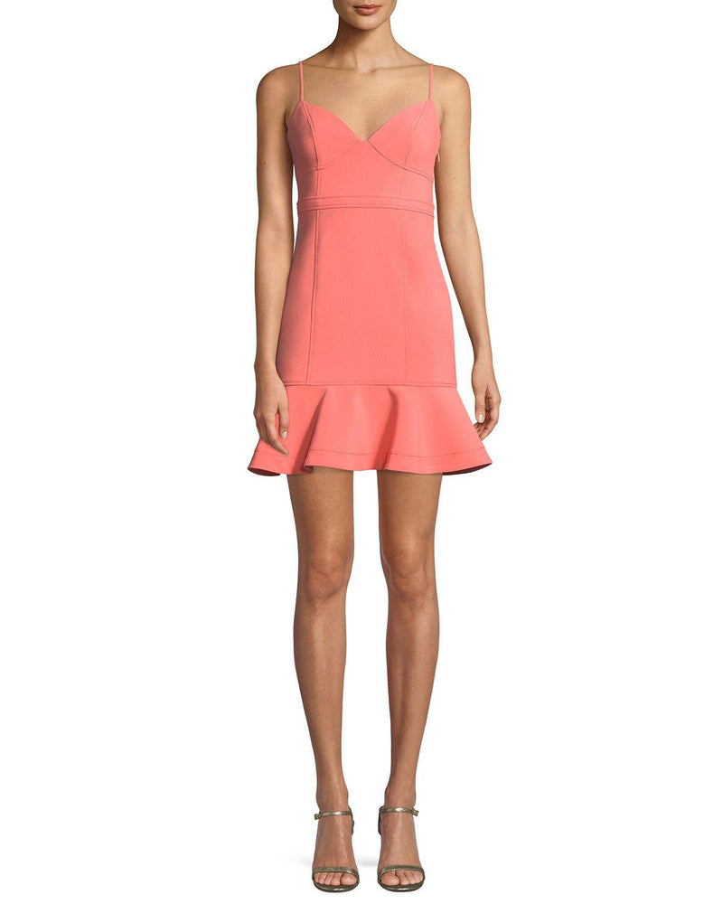 LIKELY Mini Dress with flounce. Mini Robe col en v
