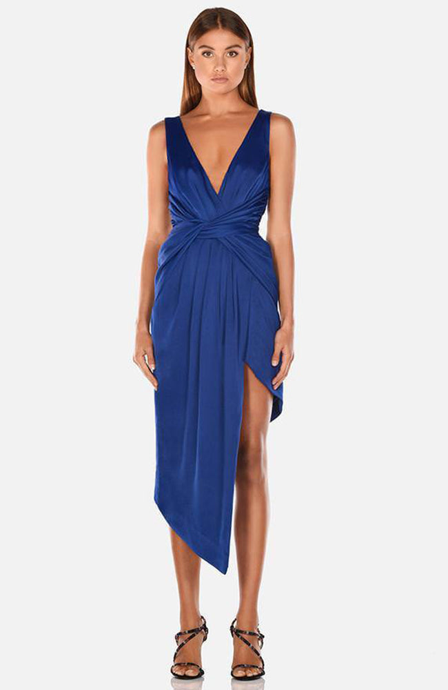 Asymmetric Twist Front Cocktail Party Dress Robe de soirée