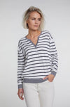Oui Pullover with Crew Neck White And Blue Stripes