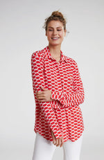 Chandail Rouges Leves Oui Blouse with Collar Lips Red and White