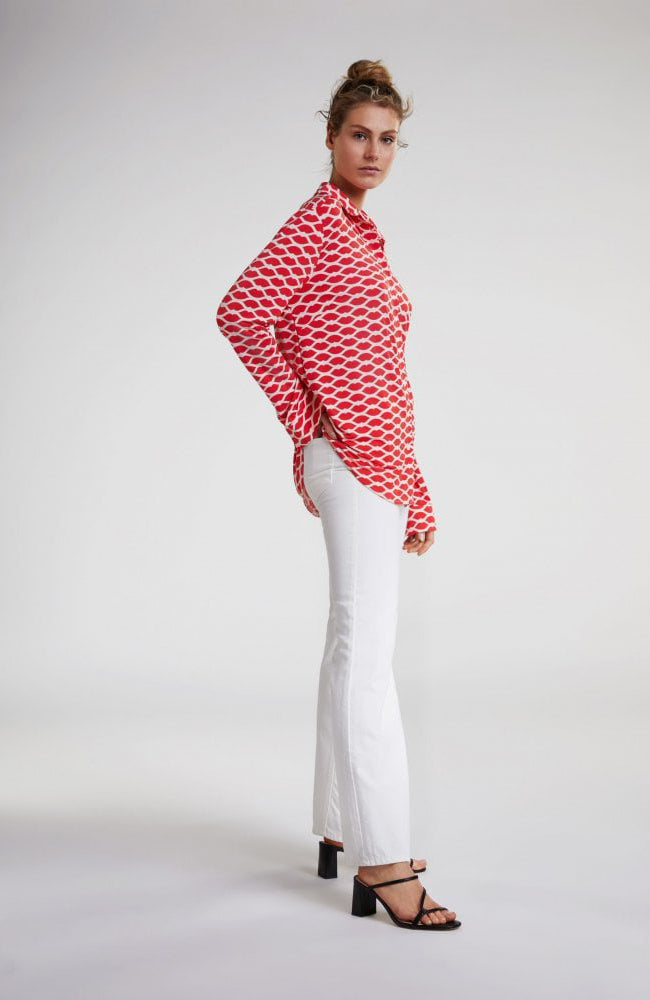 Haut Leves Rouges Oui Blouse Kisses Lips Red and White