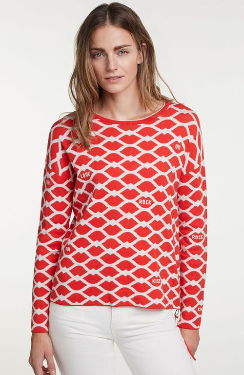 Oui Pullover Heart Red and Gray