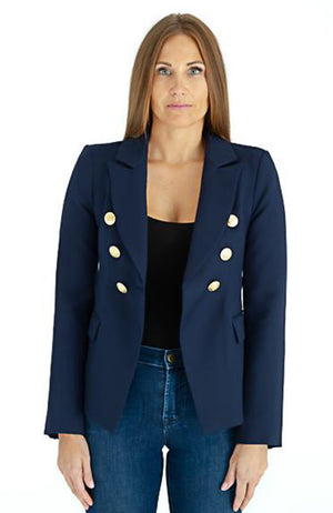 LOA LABEL Navy Blazer with Gold Buttons. Blazer bleu à boutons dorés