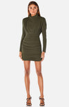 Turtle Neck Crepe Dress with Shirring. Robe avec plissage