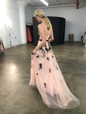 Open back tulle gown by designer Marchesa Notte