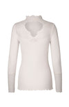 Top avec dentelle. Long Sleeve Ribbed Top with Lace