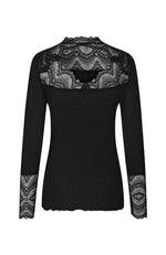 Long Sleeve Ribbed Top with Lace. Top avec dentelle