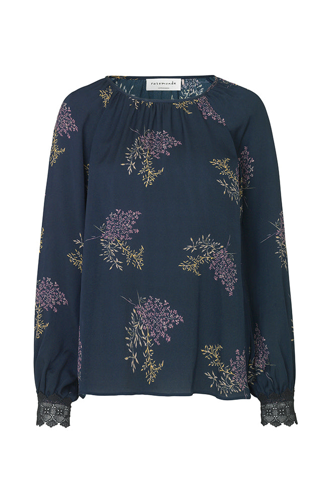 Scoop Neck Long Sleeve Printed Blouse. Haute à manches longues imprimé