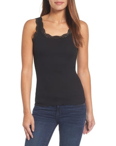 Rosemunde Thin Straps Black Top with Lace. Camisole noire