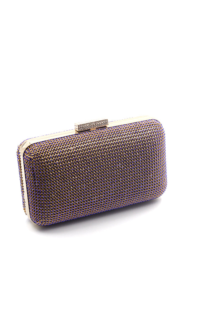All Over Rhinestone Clutch with Metal Rectangle Clasp
