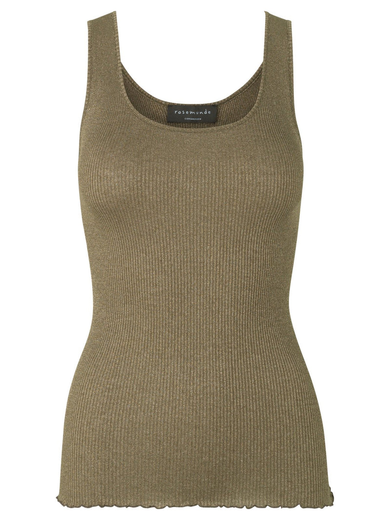 Rosemunde Silk Tank Top in Lurex. Haute en soie métallique