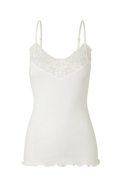 Rosemunde Spaghetti Straps Organic Cotton and Lace Top Ivory
