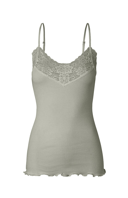 Rosemunde Spaghetti Straps Organic Cotton and Lace Top Mint