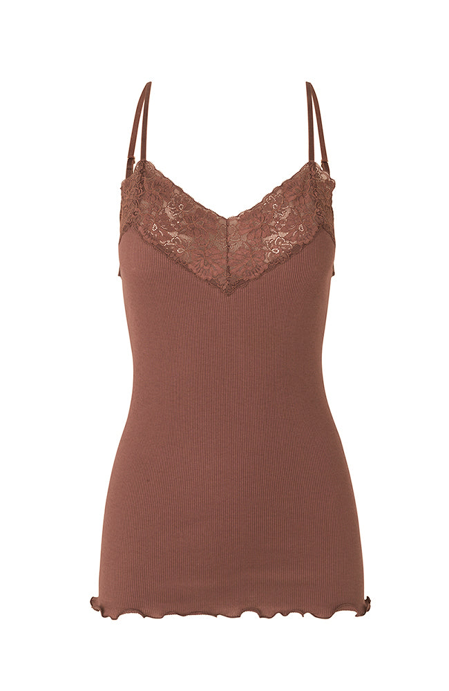 Rosemunde Spaghetti Straps Organic Cotton and Lace Top Cappuccino Acorn