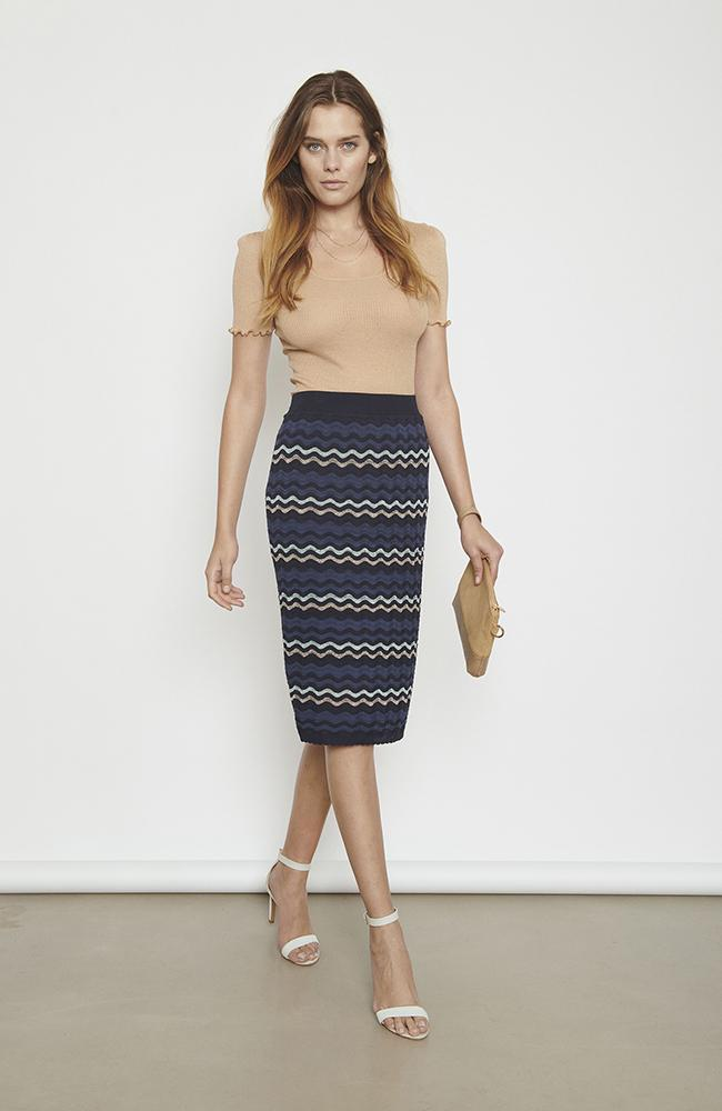 Jupe en tricot rayons bleu Rosemunde Striped Knitted Pencil Skirt with Lurex