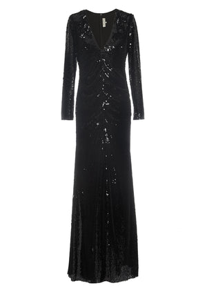 V-neck sequin evening gown Sachin and Babi robe paillettes