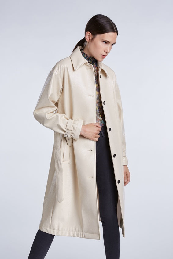 SET Vintage Style Glossy Vegan Leather Trench Coat