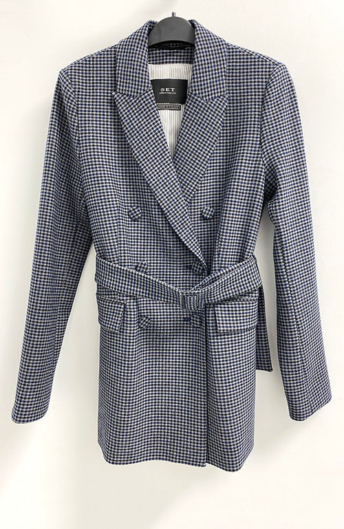 SET Double Breasted Gray and Navy Checker Blazer Veste