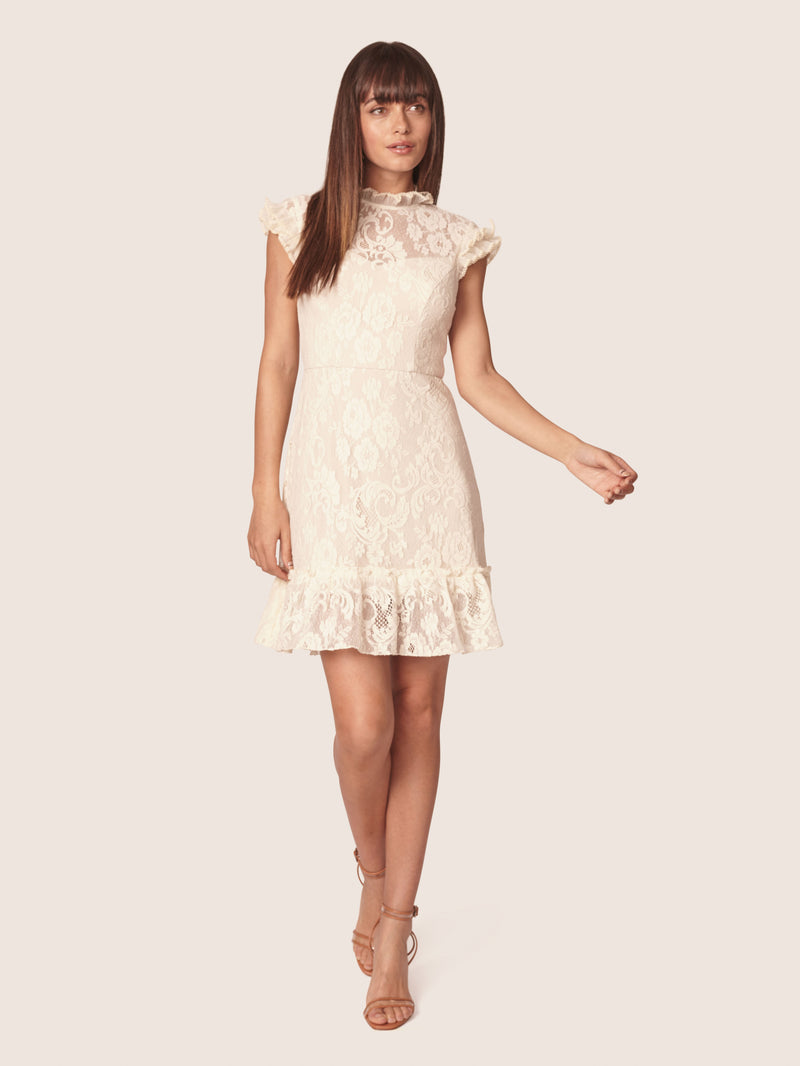 Mini robe en dentelle ALLEN SCHWARTZ Lace Mini Dress with Ruffles Ivory.