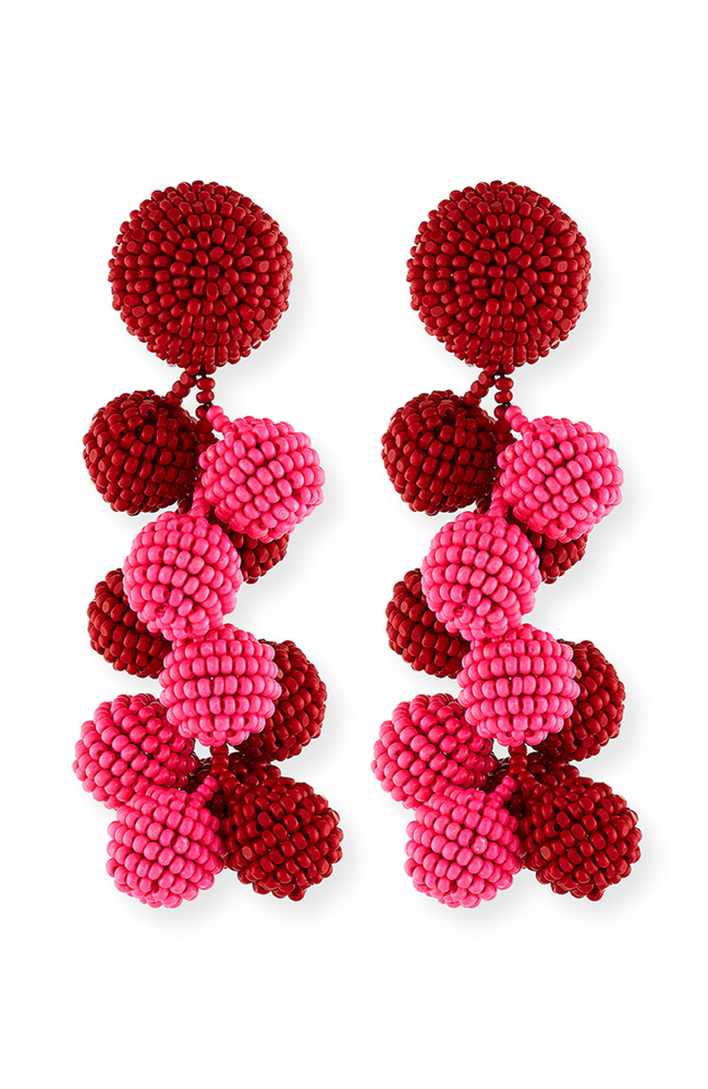 SACHIN & BABI Red-Fuchsia Coconut Earrings Pendants d'oreilles