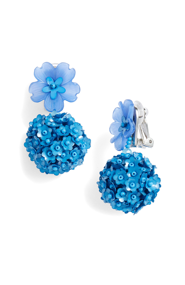 SACHIN & BABI Fleur Drop Earrings Ocean Blue Pendants d'oreilles