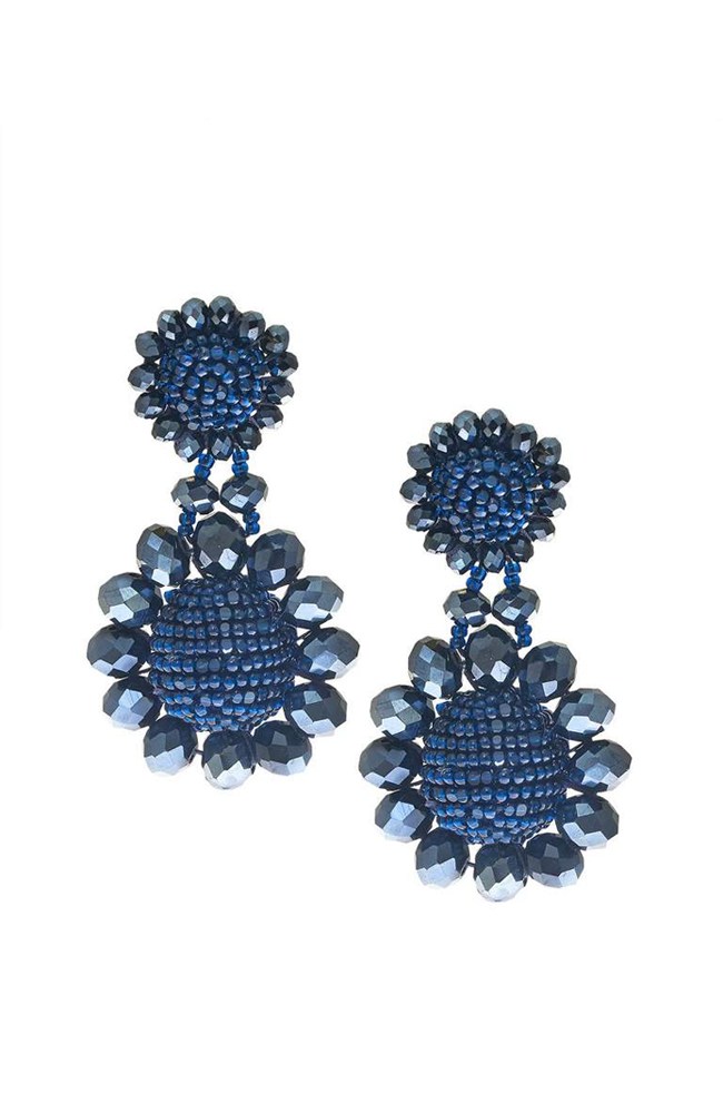 SACHIN & BABI Mini Regal Drop Navy Pendants d'oreilles blue marine