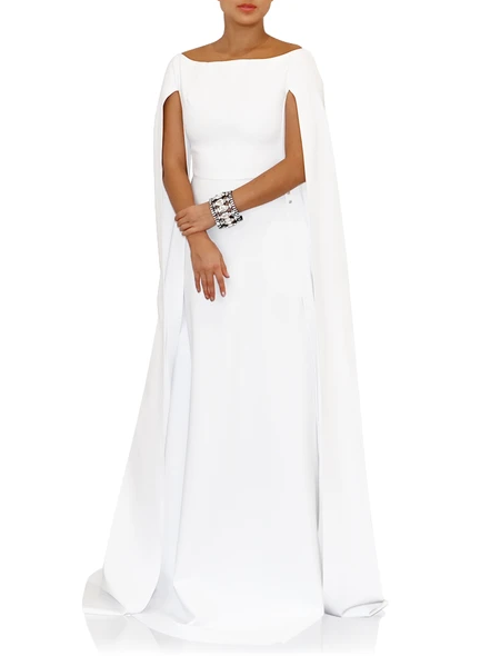 GRETA CONSTANTINE Prague Gown Boat Neck A-Line Gown With Long Open Sleeves