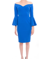GRETA CONSTANTINE Lellan Cocktail dress Bateau V - Neck Trumpet Sleeve