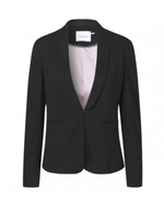 Black Knit Single Breasted Blazer. Veste à simple boutonnage