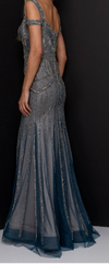 TERANI Beaded Gown with Sweetheart Neckline and Off Shoulder Straps