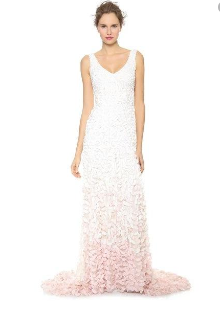 THEIA Emma V Neck Flared Embroidered Ombre Petal Gown