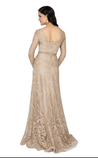 Long Sleeve Gold Nude Beaded Prom Evening Gown. Robe de Bal avec des perles