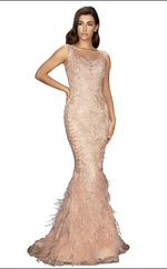 TERANI Embroidered Beaded Gown with Feather Bottom