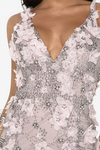 Embroidered and Embellished Details Deep V Neck Gown Terani