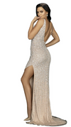 TERANI Form Fitting Gown with High Slit