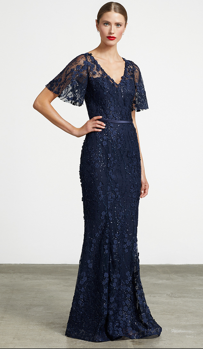Beaded Lace V-Neck Gown with Sleeves