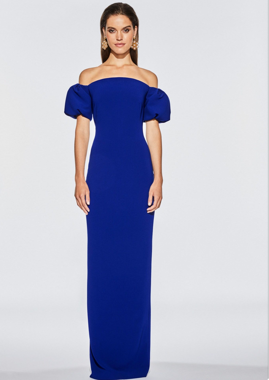 FRASCARA Off the Shoulder Short Tulip Sleeve Gown