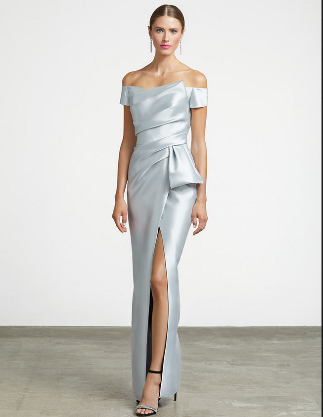 FRASCARA Silk Draped Gown with High Slit & Bow Silver Mist