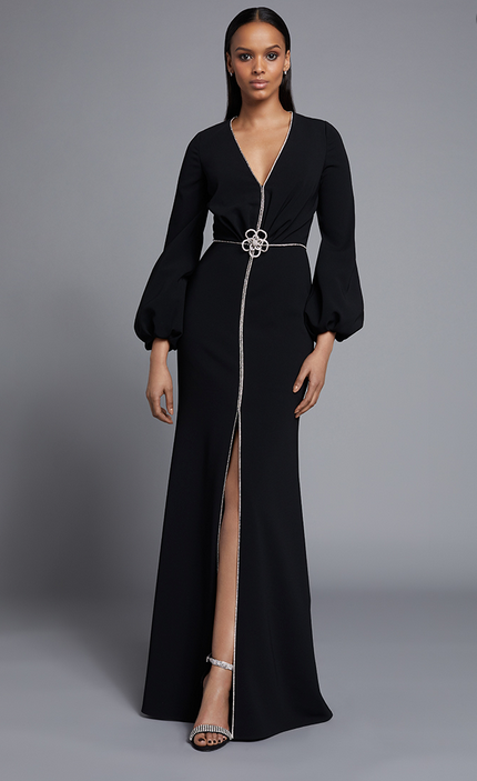 FRASCARA Long Sleeve V-Neck Gown with Rhinestone Details Black