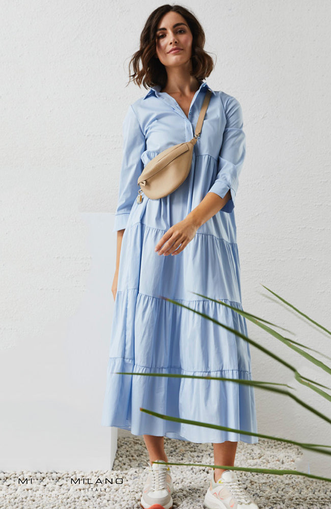 Milano Cotton Mix Shirt Dress with Ruffles