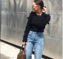 LONG SLEEVE KNIT TOP WITH RUFFLES