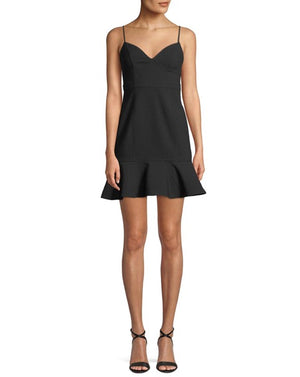 LIKELY Black Mini Dress with flounce. Mini Robe en noire