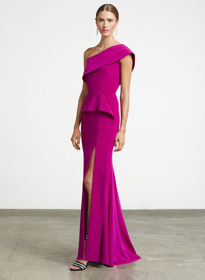 FRASCARA One Shoulder Gown with Front Ruffle. Robe de soirée mono-épaule